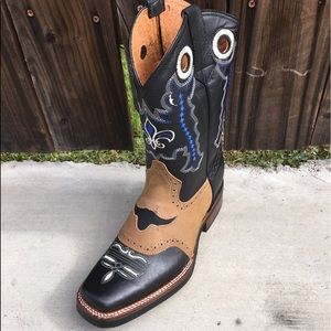 Mens Genuine Leather Rodeo Square Toe Black Boots